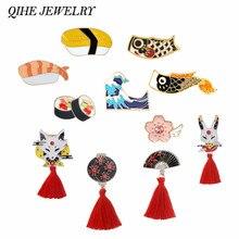 QIHE biżuteria styl japoński Pins kolekcja Sakura Nigiri Sushi Koi fala oceaniczna Kitsune broszki Asican Deco podróży prezenty