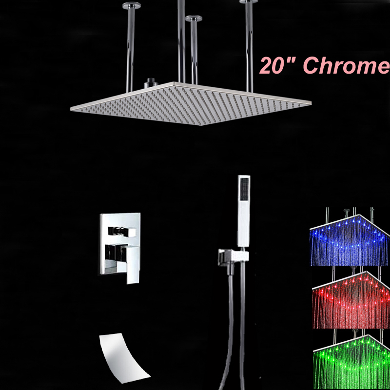 Wholesale And Retail 20 Square Rain Shower Head LED Color Changing Chrome Shower Faucet Tub Spout W/ Hand Shower Ceiling Mount
