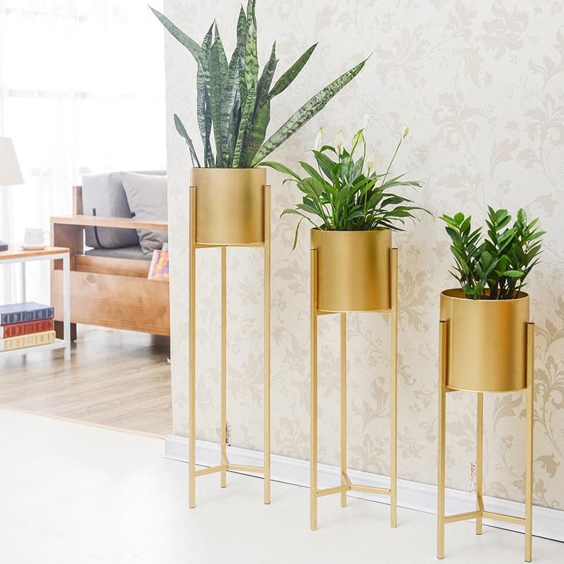 Ouro Rack de Ferro Titular Vaso de Flores Plantador de Erva Suculenta Pote Suporte De Metal