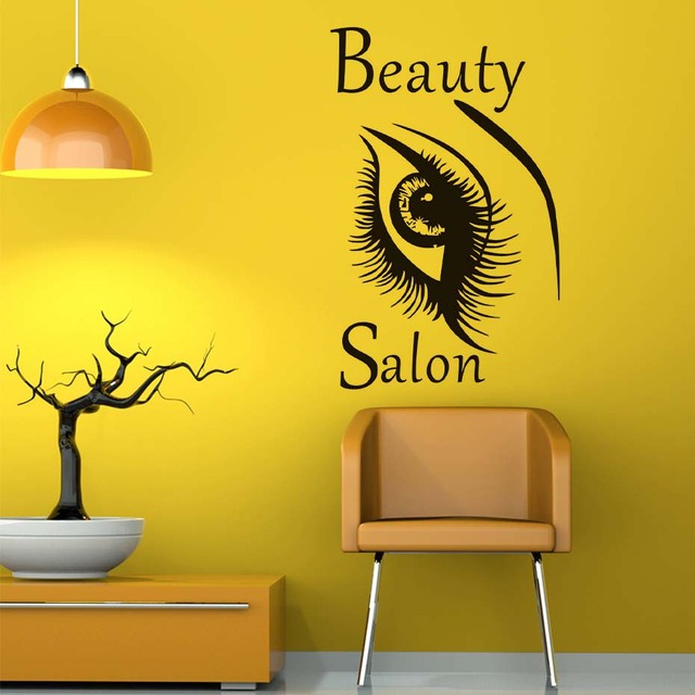 Beautiful Big Eye Art Wall Stickers Beauty Salon Vinyl Removable ...