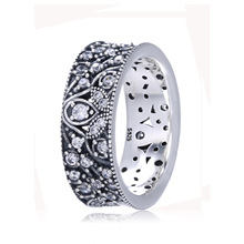 Authentic 925 Sterling Silver Ring Shimmering Leaves Statement With Crystal Rings For Women Wedding Party Gift Fine Jewelry