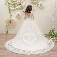 Girls White Wedding Dress Girls Party Dress Birthday Love Pattern Backless Clothing Kids Long Trailing Dress for 3 12 years