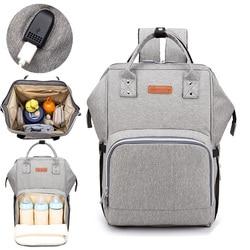 Torba na pieluchy interfejs USB torba na pieluchy torba na rzeczy do opieki nad niemowlęciem na wózek powiększ wodoodporny mama macierzyński designerski plecak podróżny torebka