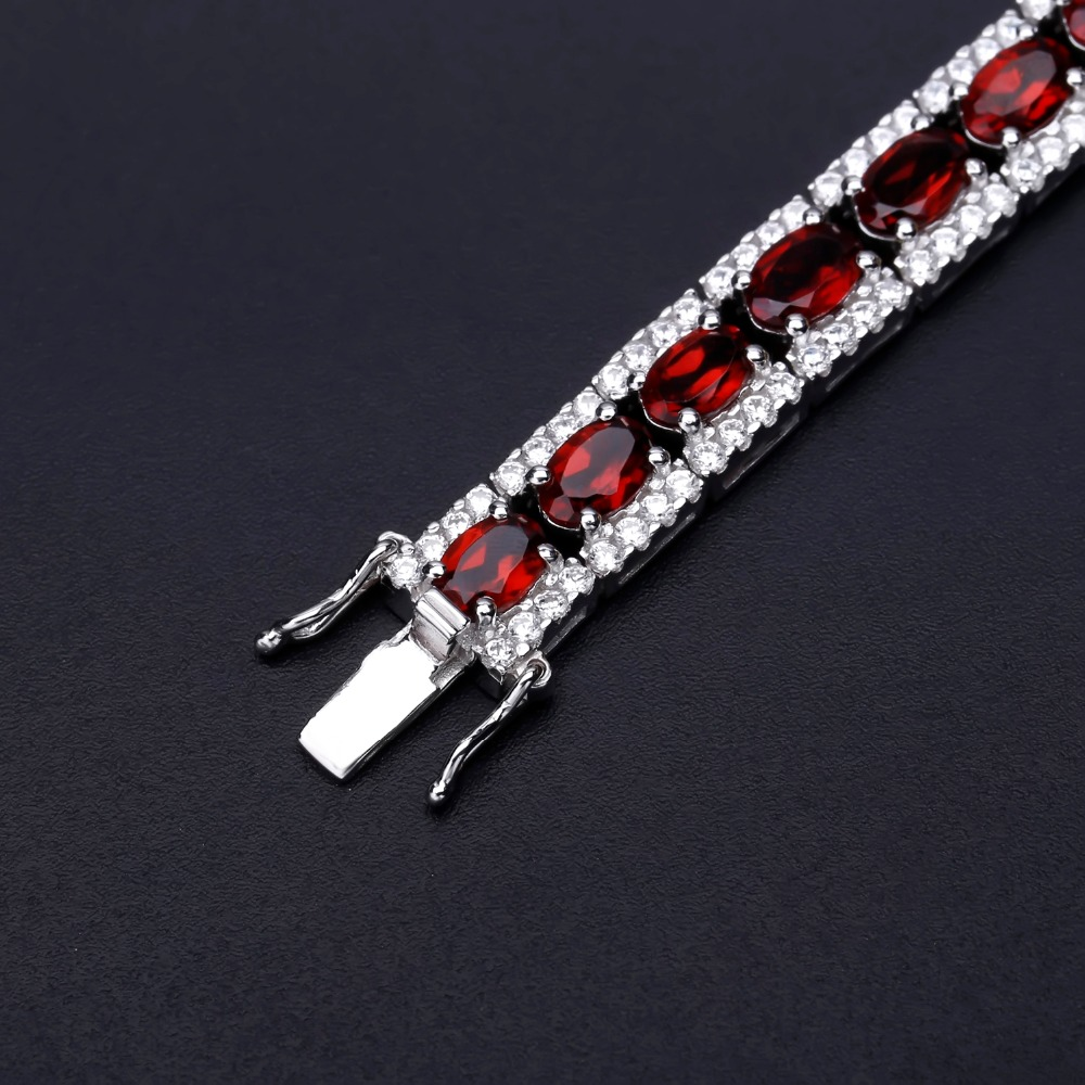GEM'S BALLET 0.6ct Garnet 925 Sterling Silver Vintage Natural Gemstone Chain Link Bracelet For Women Wedding Engagement Jewelry