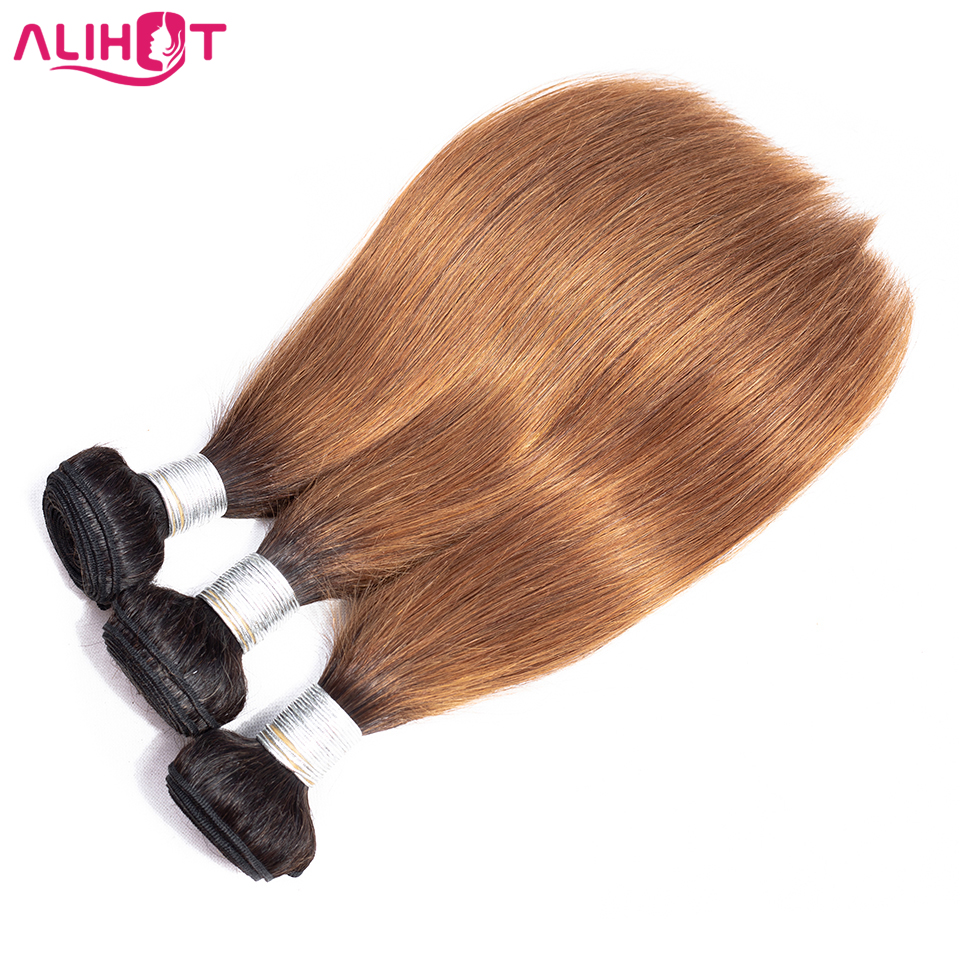 ALI HOT HAIR Ombre Brazilian Straight Hair 3 bundles Double Weft Two Tone Human Hair Bundles 1b/30 Remy Hair Weave Extensions