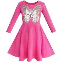 Sunny Fashion платья для девочек платье Сова лед Крем Бабочка Цехин Каждый день Платье
