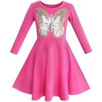 Girls Dress Owl Ice Cream Butterfly Sequin Everyday Dress Cotton 2017 Summer Princess Wedding Party Dresses