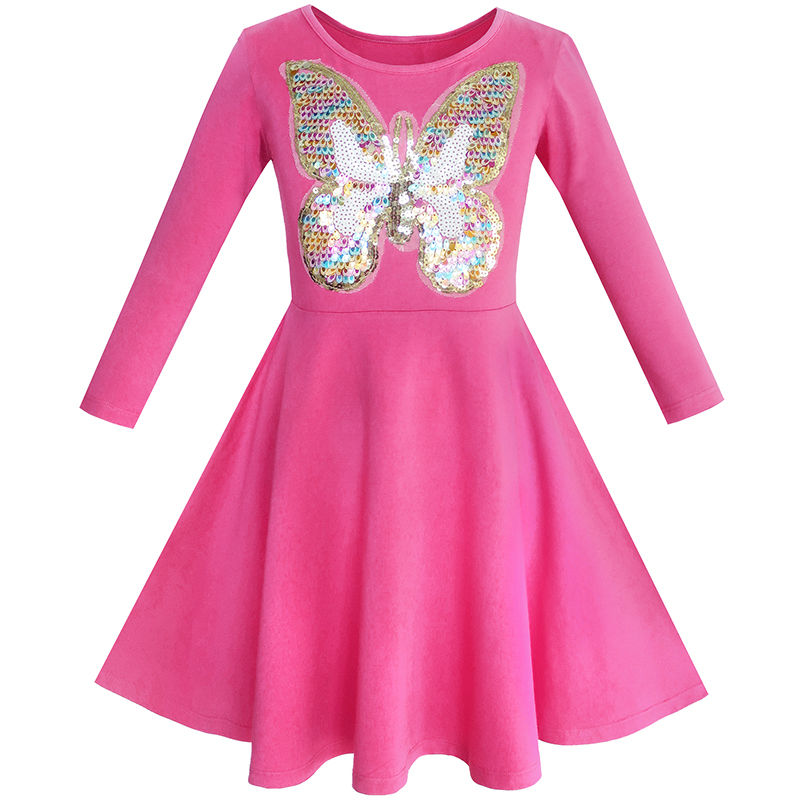 Girls Dress Owl Ice Cream Butterfly Sequin Everyday Dress Cotton 2017 Summer Princess Wedding Party Dresses