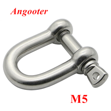 10pcs M5 Straight D shackle 304 stainless steel D Type Rigging Chain Shackle Hooks  , m5 u sling screw Rope Screw
