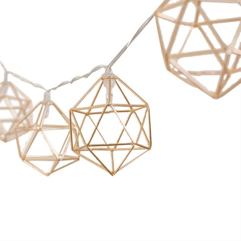 1.5m 10 Light Nordic Style Rose Gold Hexagonal Light String