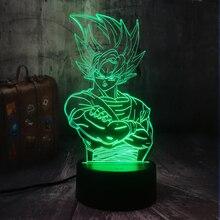 Saiyan Son Goku Dragon Ball Kakarotto 3D светодиодный Ночной светильник, настольные вечерние лампы, домашний декор, детская игрушка, рождественский подарок, Прямая поставка