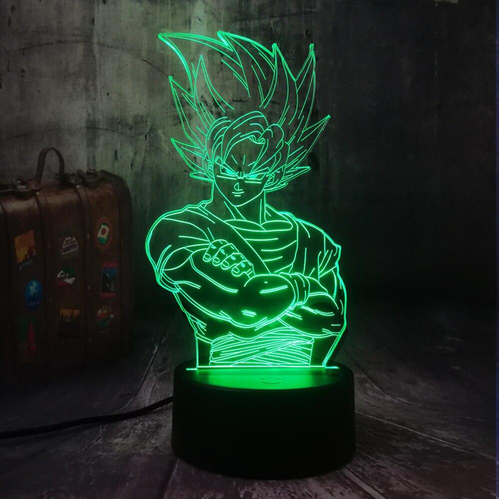 New Saiyan Son Goku Dragon Ball Kakarotto 3D LED Night Light Table Party Lamp Home Decor Kid Toy Christmas Gift Drop Shipping