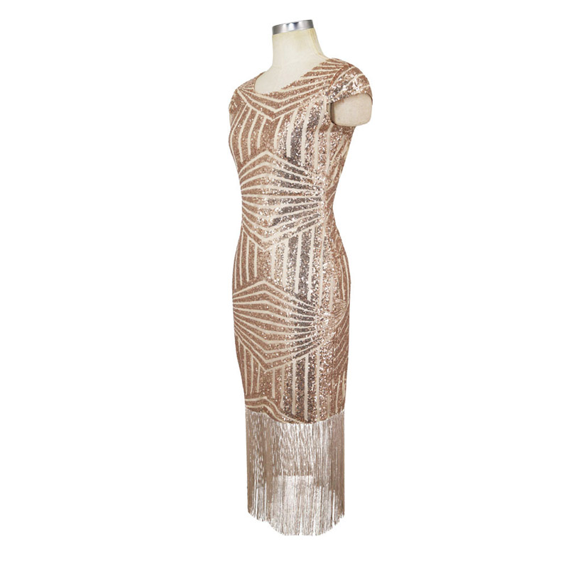 56f52d97e1 Women Elegant Celebrity Summer High Quality Gold Sequin Fashion Cape Sleeve  Tassle Fringe Casual Party Evening Midi Dress 302154-in Dresses from Women s  ...