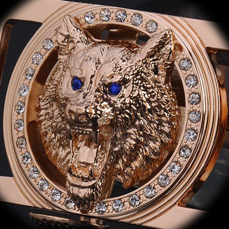 2018 nuevo y famoso diseñador de cinturones de los hombres de alta calidad cinturón de oro Wolf Head hebilla Faja 130 cm correa de la cintura ocasional vaqueros vaqueros