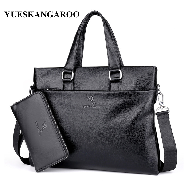 YUES KANGAROO Famous Brand Leather Men Bags A4 Document Business Briefcase 2017 New Handbag Male Crossbody Shoulder bags yues kangaroo brand men bag leather casual high quality shoulder crossbody bags classical business briefcase mens messenger bag