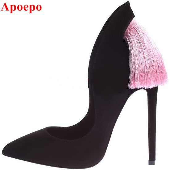 Fashion bowtie fringe high heel pumps unique designer tassel stiletto heels dress shoes for women black suede pumps woman top quality woman shoes fashioned in the concise design and unique pattern fringe decoration stiletto high heels light blue heel