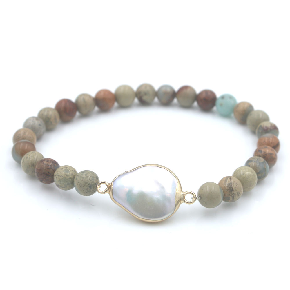 African stone and freshwater pearl strand bracelet