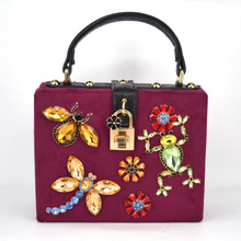 Fashion Luxury designer insect butterfly diamond ladies evening bag box handbag Tote shoulder bag women Crossbody bags Flap z890