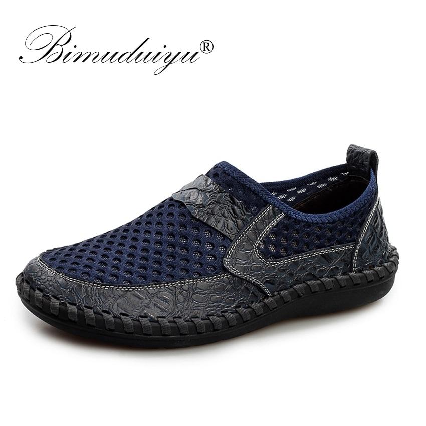 BIMUDUIYU Breathable Men's Casual Shoes Summer Shoes Cowhide + Mesh Crocodile Pattern Male Mesh Shoes Plus Size 38-46 Footwear недорго, оригинальная цена