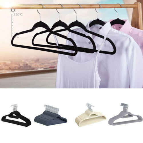 Non-Slip Velvet Hangers - Suit Hangers Ultra Thin Space Saving 360 Degree Swivel Hook Strong and Durable Clothes Hange