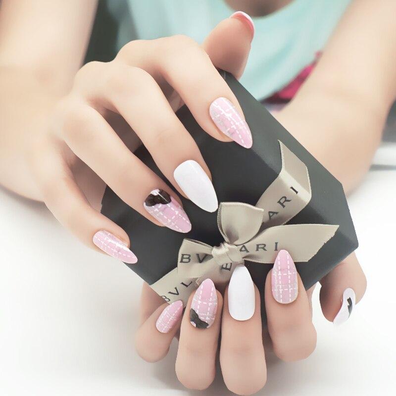 Pink Cute Long Sharp False Nails 24pcs/set Butterfly Lady Stiletto ...