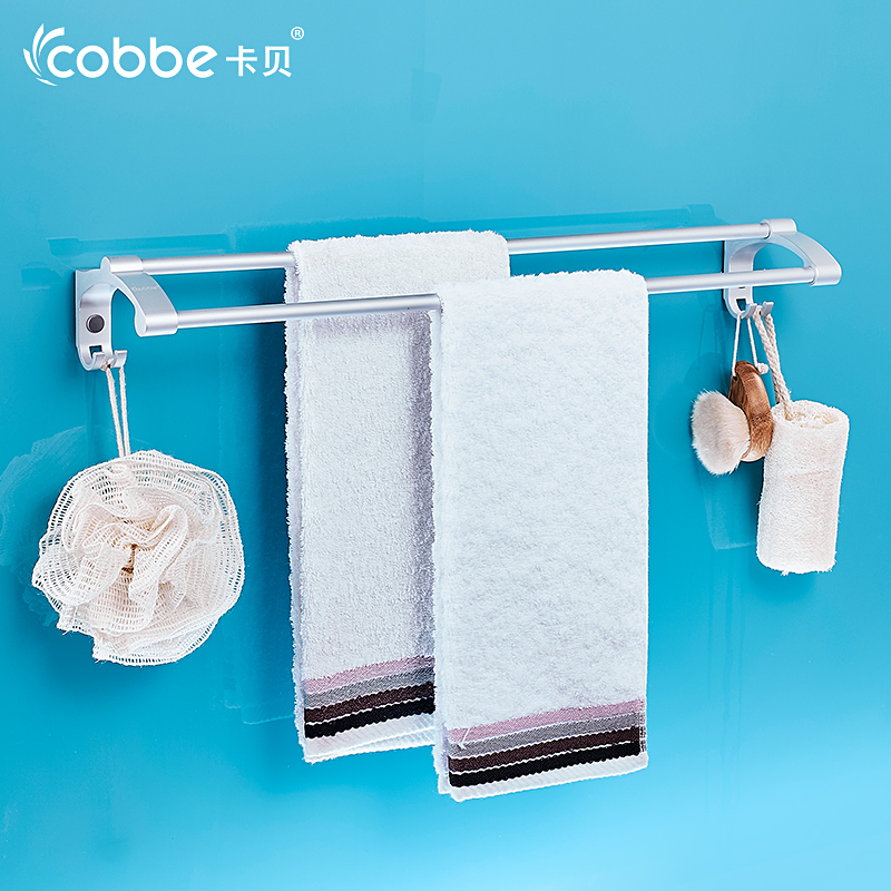 Wall mounted towel bar with hooks double towel rack railof for Rack for bathroom accessories
