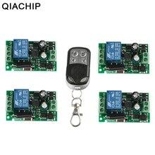 Qiachip 433mhz interruptor de controle remoto sem fio ac 85v ~ 250v 110v 220v 1ch relé módulo receptor + transmissor rf para a porta da garagem