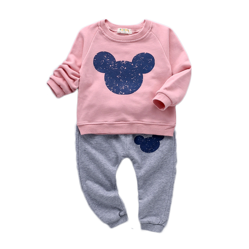 2016 Spring Autumn Baby Girl Set Cotton Girl Clothes Coat and Pants Children Cartoon Girl Clothing Set GD-449 kids boys clothes