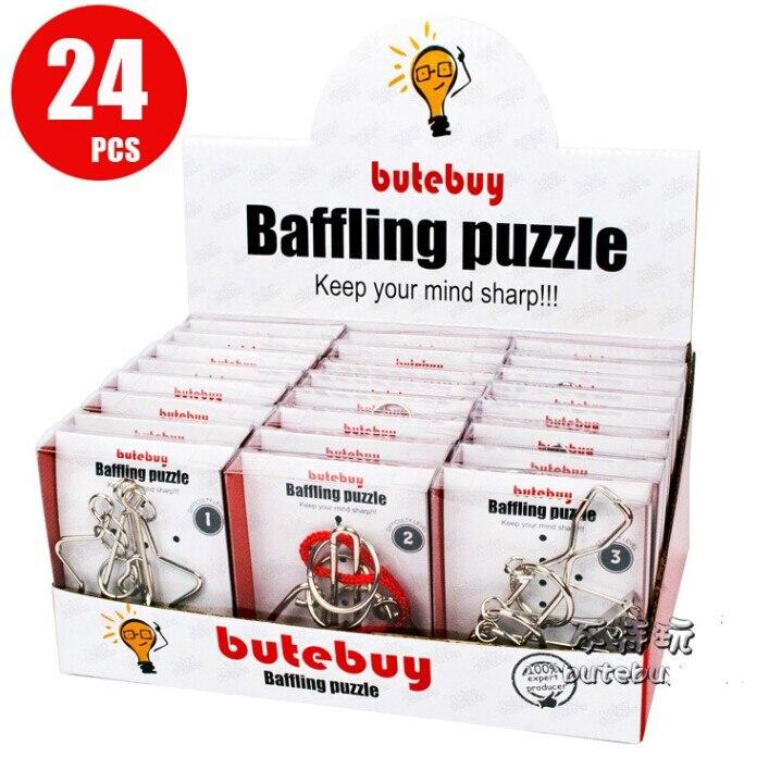 24 pièces/ensemble IQ métal fil Puzzle esprit logique cerveau Teaser Puzzles jeu jouets pour adultes enfants