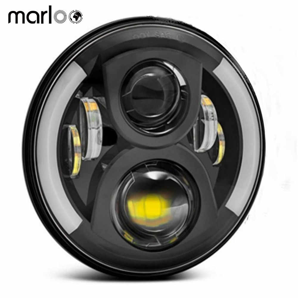 "Marloo Motorcycle Accessories 7 Inch LED Headlight For Wrangler JK TJ Hummer 7"" Turn Signal DRL Headlamp 1PCS"