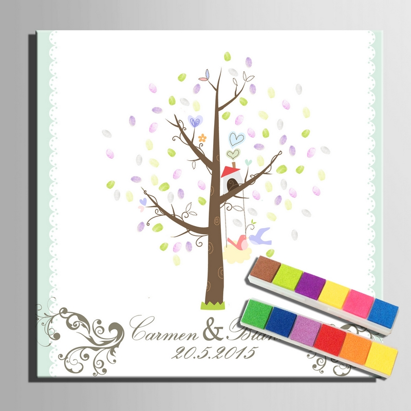 Guest Bookhappy Wedding Tree Fingerprint Signature Canvas Painting