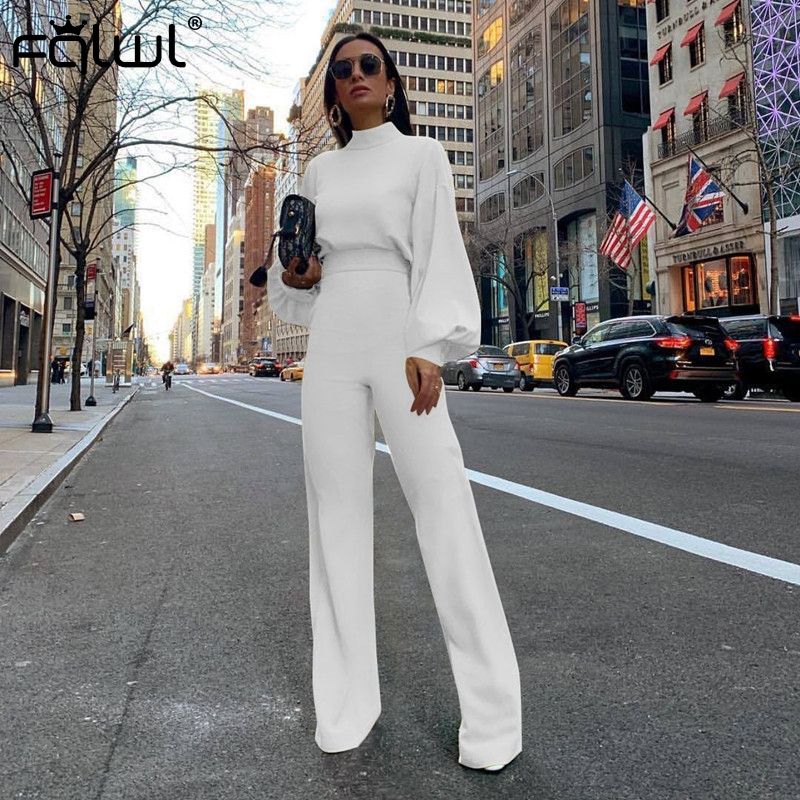 FQLWL Casual Wide Leg Summer Bodycon   Jumpsuit   Women 2019 Overalls Long Sleeve White Black Skinny Rompers Womens   Jumpsuit   Female