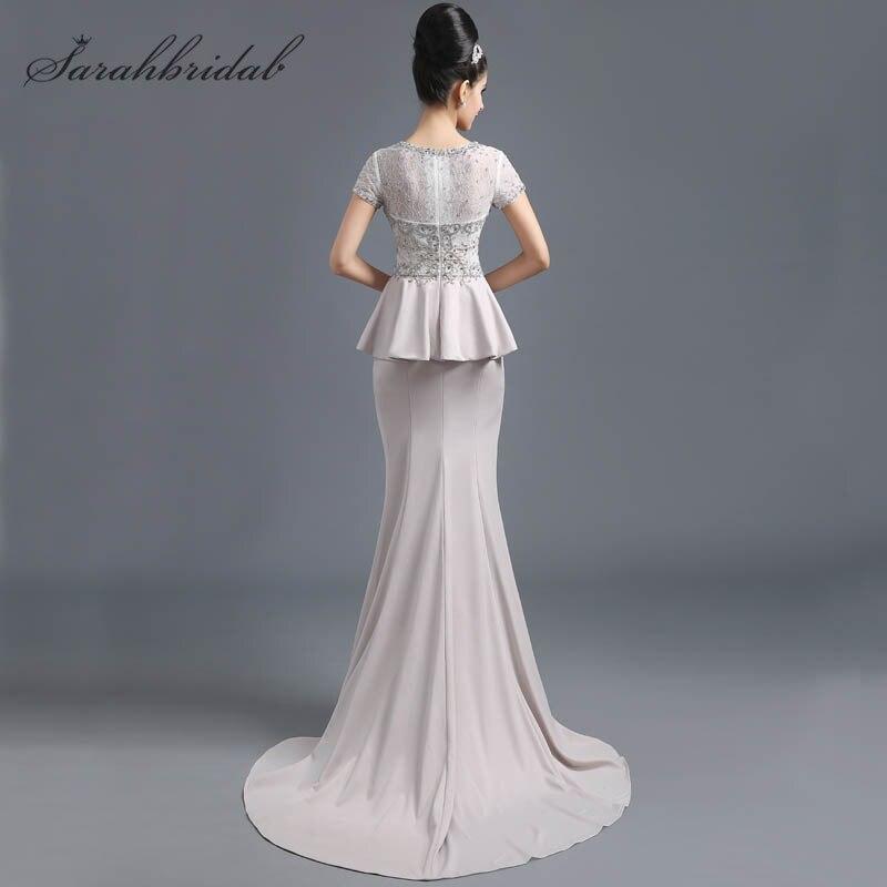 Classique sirène robes de soirée dentelle perles manches courtes transparent dos nu femmes mère de mariée robes offre spéciale en Stock SD291 - 2