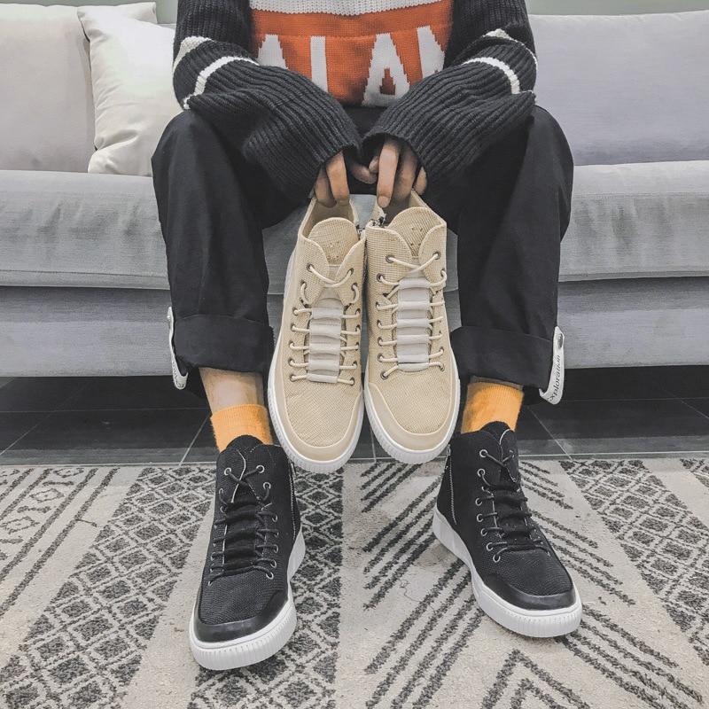 kaki Chaussures Chanvre Nouveau Noir Sport Marque Haute Sneakers Hommes Rue  L automne Début Hiver Ka209 ... cd229b0b7c0