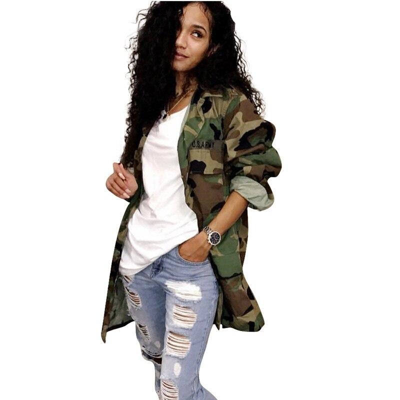Women's Green Camouflage Long Jackets Plus Size Long Sleeve Camo Streetwear Coat Femme