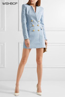 WISHBOP 2018 Runway Light Blue Denim Dress V neck Double Breasted Gold Button up Flap Pocket Long Sleeves Buttoned Cuff Zip Back