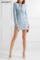 Wishbop 2018 взлетно посадочной полосы светло голубой платье из джинсовой ткани v образным вырезом Двойной Брестед золото кнопки до щитка карман