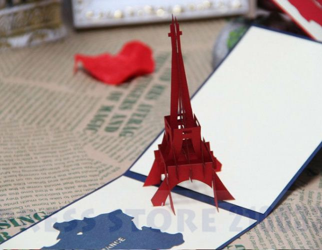 The Eiffel Tower Pop-up Card Origami Architecture Kirigami ... | 500x644