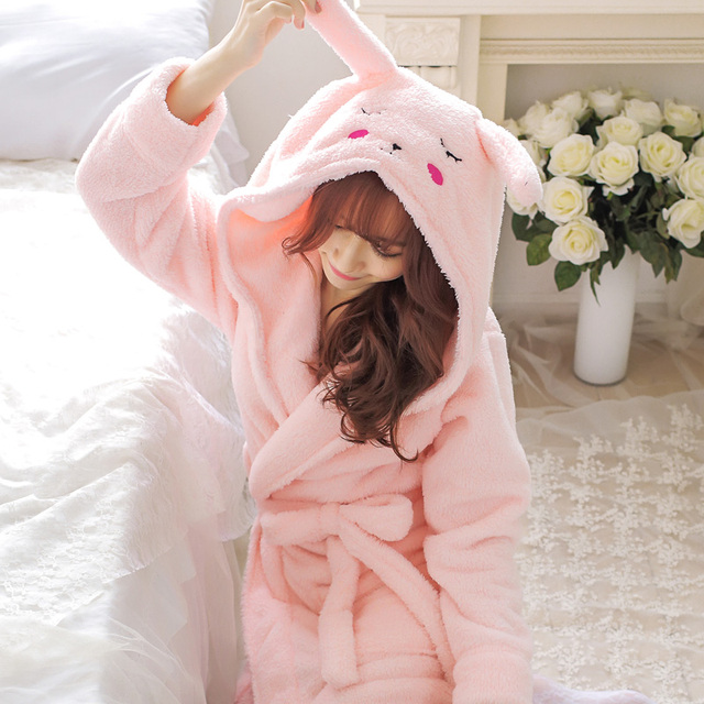 c381b71de4 New Plush Robe Adult Animal Mouse Pajamas Long Sleeve Lovely Rabbit  Sleepwear Pink Bath Robes Dressing Gowns Women Gray Bathrobe