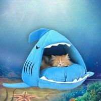 ノベルティソフト犬猫ベッド勒グレーカラー漫画サメマウス形状洗える犬小屋ペット睡眠ベッドで取り外し可能なクッション