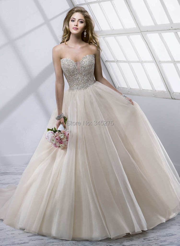 champagne/silver bling crystal ruched ball gown wedding dress chic ...
