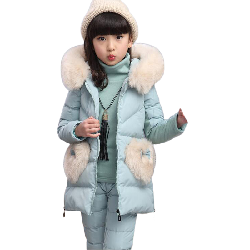 Kids Sets Fake Fur Collar Vest Three-piece Ensemble Fille Ski Suit For Girls Winter Overalls Children's New Year's Costumes 2016 winter boys ski suit set children s snowsuit for baby girl snow overalls ntural fur down jackets trousers clothing sets