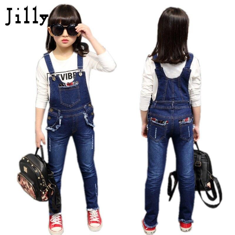 Dívky džíny kombinézy pro dívčí džínové 2019 podzimní kapesní kombinézy kalhoty kalhoty dětské džíny baby dívky celkově pro děti 3-13 let