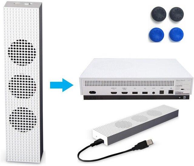 Xbox um s ventilador de refrigeração com 2 portas usb hub e 3 h/l ajuste de velocidade ventiladores de refrigeração cooler para xbox um console de jogos magro + tampões