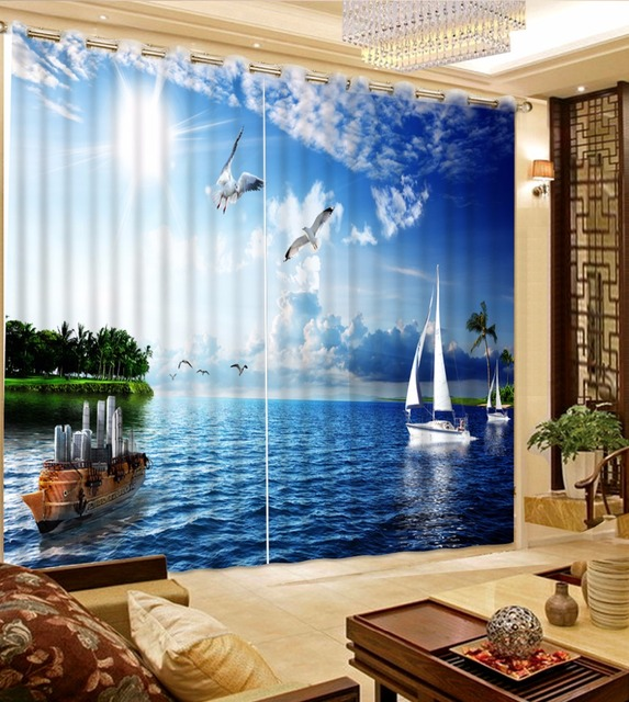 Beautiful Curtains 3D Bedroom Curtains Boat On The Sea Landscape Design  Curtain For Children Living Room