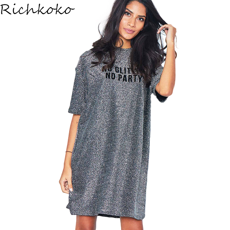 Richkoko Woman Shiny Sliver Drop Shoulder Letter Printed Shirt Dress H Line Half Sleeve  ...