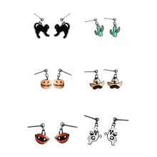 Women New Style Vintage Personality Halloween Party Cat Shape Mental Dangle Earrings