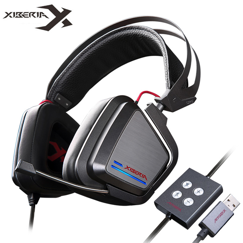 XIBERIA S25 Gaming Headphones Best Casque Gamer PC Headset USB 7.1 Computer Headfone With Microphone LED Light Game Auriculares original xiberia v2 led gaming headphones with microphone mic usb vibration deep bass stereo pc gamer headset gaming headset