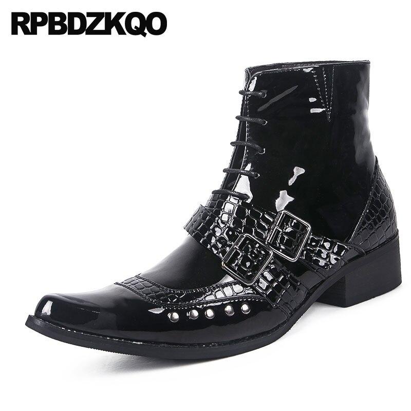 eefce13b36 Topo Para Metálico Chunky Curt Apontado Patente Couro De Cobra Preto Rebite  Alto Pele Viga Sapatos ...