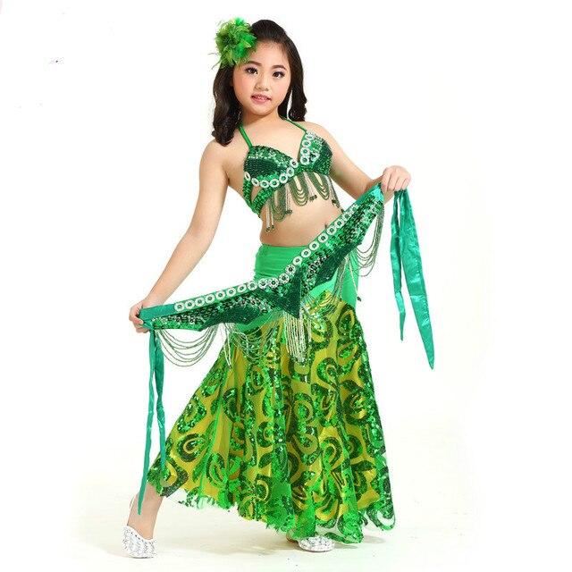 d4a9c0b4a82e Vestiti indiani Per I Bambini costumi di danza orientale pollywood gonna  bra belt skirt set bambini